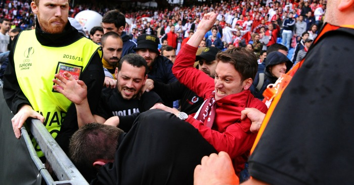 Fans: Supporters of both teams involved in violence