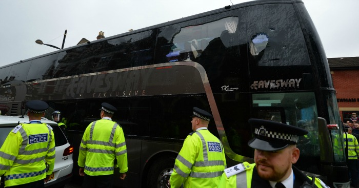 Manchester United: Bus comes under attack