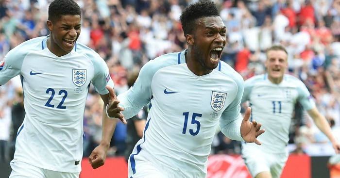 Daniel Sturridge: Celebrates England's winner