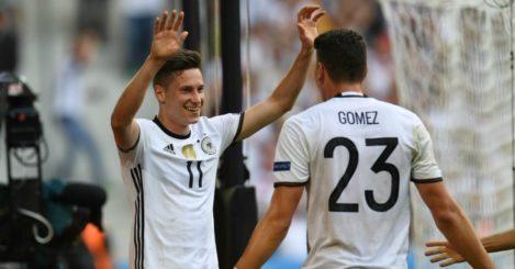 Julian Draxler: Forward celebrates with Mario Gomez