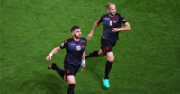 Armando Sadiku (L): Celebrates first ever major tournament goal for Albania