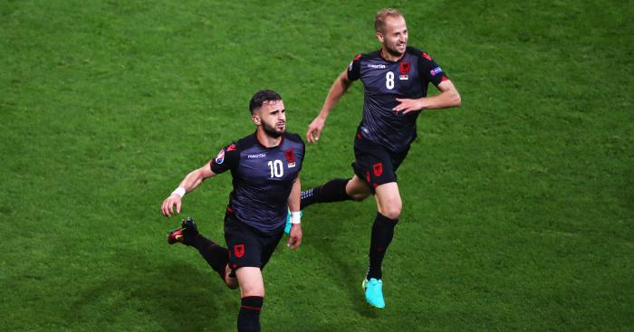 Armando Sadiku (L): Celebrates first ever major tournament goal for Albania