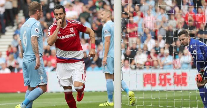 Alvaro Negredo: Celebrates his first goal for Middlesbrough