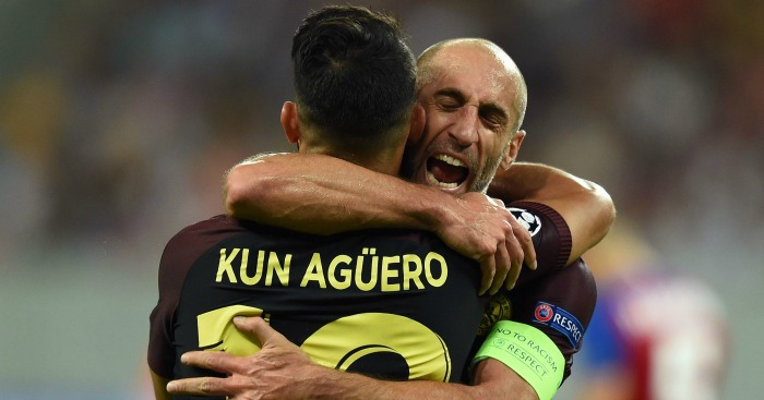 Sergio Aguero: Celebrates with Pablo Zabaleta