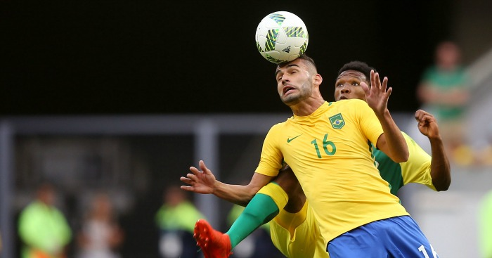Thiago Maia: Midfielder in action for Brazil at the Olympics