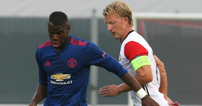 Paul Pogba: Watched closely by Dirk Kuyt