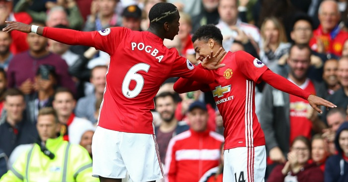 Paul Pogba: Celebrates his goal with Jesse Lingard