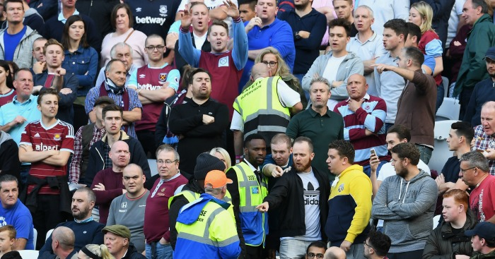 West Ham: Stewards talk to fans