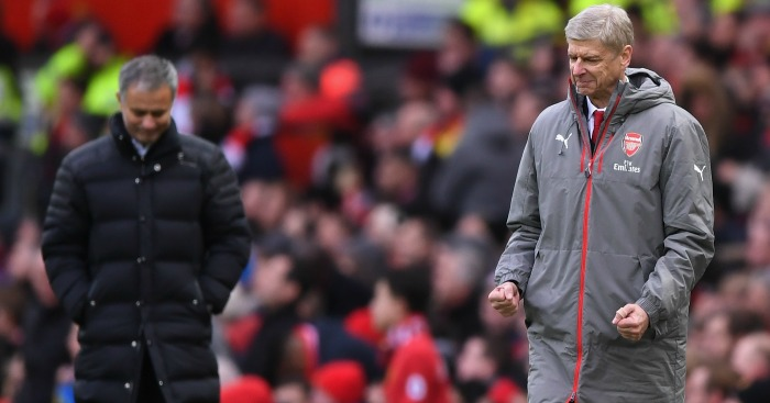 Arsene Wenger: Celebrates Arsenal's late equaliser at Man Utd