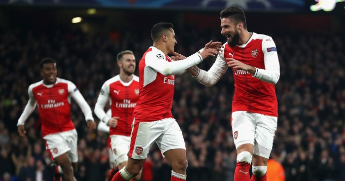 Alexis Sanchez: Forward celebrates with Olivier Giroud