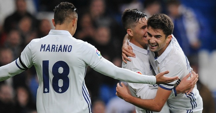 Enzo (r): Celebrates his first goal for Real Madrid