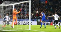 Andy King: Heads Leicester in front