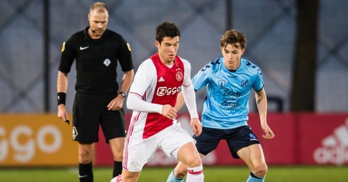 (L-R) Pelle Clement of Jong Ajax, Odysseus Velanas of Jong FC Utrecht during the Jupiler League match between jong Ajax and Jong FC Utrecht at De Toekomst on April 03, 2017 in Amsterdam, The Netherlands