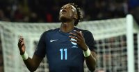 England's striker Tammy Abraham reacts after England's striker Jamie Vardy missed a chance during the friendly international football match between England and Germany at Wembley Stadium in London on November 10, 2017. / AFP PHOTO / Glyn KIRK / NOT FOR MARKETING OR ADVERTISING USE / RESTRICTED TO EDITORIAL USE (Photo credit should read GLYN KIRK/AFP/Getty Images)