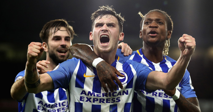 BRIGHTON, ENGLAND - NOVEMBER 20: Pascal Gross of Brighton and Hove Albion celebrates scoring his side's first goal with Davy Propper and Gaetan Bong during the Premier League match between Brighton and Hove Albion and Stoke City at Amex Stadium on November 20, 2017 in Brighton, England. (Photo by Bryn Lennon/Getty Images)