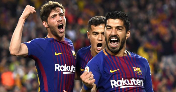 Sergie Roberto, Philippe Coutinho, Luis Suarez, Barcelona celeb