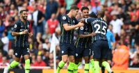 LONDON, ENGLAND - AUGUST 12: Raheem Sterling of Manchester City celebrates after scoring his side's first goal with team mates during the Premier League match between Arsenal FC and Manchester City at Emirates Stadium on August 12, 2018 in London, United Kingdom. (Photo by Michael Regan/Getty Images)