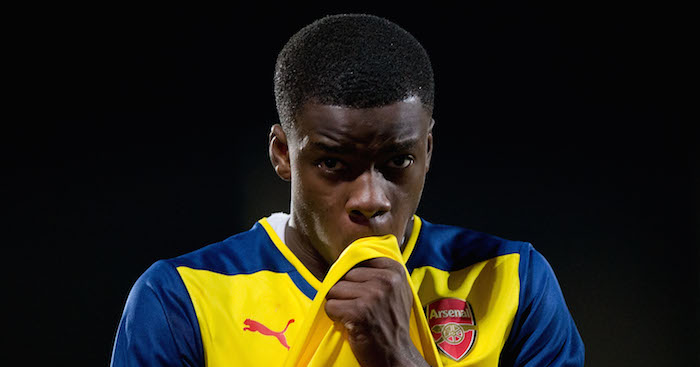 MAJADAHONDA, SPAIN - JANUARY 27: Stephy Mavididi of Arsenal looks on after losing the UEFA Youth League match between Atletico de Madrid and Arsenal at Atletico de Madrid Sport City on January 27, 2015 in Majadahonda, Spain. (Photo by Gonzalo Arroyo Moreno/Getty Images)