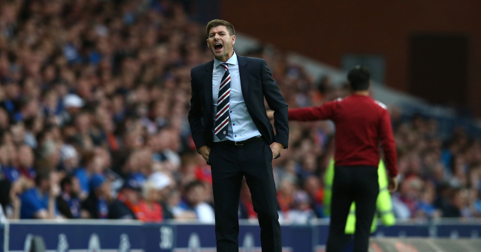 GLASGOW, SCOTLAND - JULY 12: Steven Gerrard manager of Rangers looks on during the UEFA Europa League Qualifying Round match between Rangers and Shkupi at Ibrox Stadium on July 12, 2018 in Glasgow, Scotland. (Photo by Jan Kruger/Getty Images) *** Local Caption *** Steven Gerrard