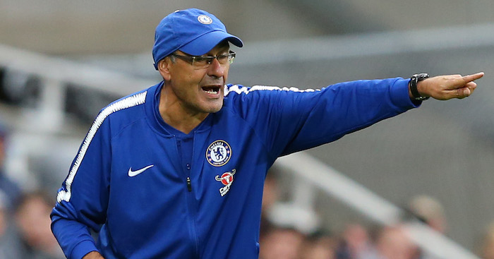 NEWCASTLE UPON TYNE, ENGLAND - AUGUST 26: Maurizio Sarri, Manager of Chelsea gives his team instructions during the Premier League match between Newcastle United and Chelsea FC at St. James Park on August 26, 2018 in Newcastle upon Tyne, United Kingdom. (Photo by Alex Livesey/Getty Images)
