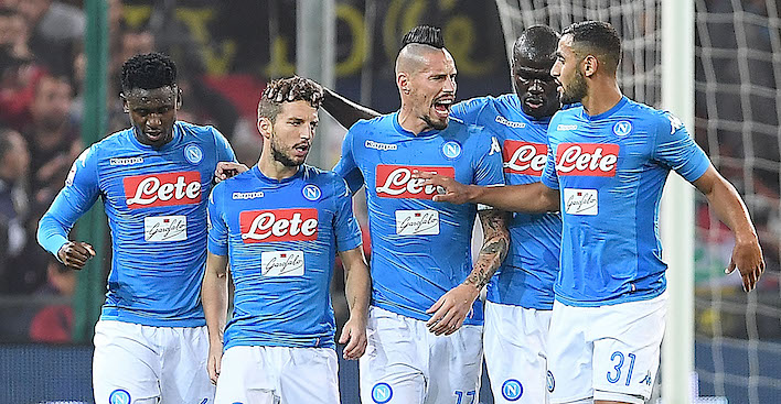 GENOA, ITALY - OCTOBER 25: Amadou Diawara, Marek Hamsik, Kalidou Koulibaly, Faouzi Ghoulam, Piotr Zielinski and Dries Mertens of SSC Napoli celebrate the 1-1 goal scored by Dries Mertens during the Serie A match between Genoa CFC and SSC Napoli at Stadio Luigi Ferraris on October 25, 2017 in Genoa, Italy. (Photo by Francesco Pecoraro/Getty Images)