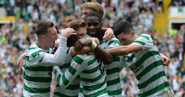 GLASGOW, SCOTLAND - SEPTEMBER 02: Olivier Ntcham of Celtic celebrates with teammates after scoring his team's first goal during the Scottish Premier League match between Celtic and Rangers at Celtic Park Stadium on September 2, 2018 in Glasgow, Scotland. (Photo by Mark Runnacles/Getty Images)
