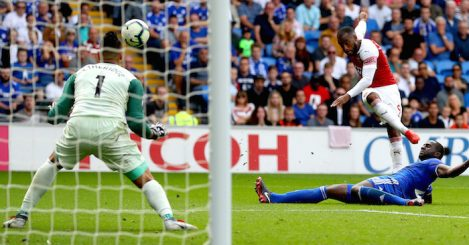 CARDIFF, WALES - SEPTEMBER 02: Alexandre Lacazette of Arsenal scores his team's third goal past Neil Etheridge of Cardiff City during the Premier League match between Cardiff City and Arsenal FC at Cardiff City Stadium on September 2, 2018 in Cardiff, United Kingdom. (Photo by Catherine Ivill/Getty Images)