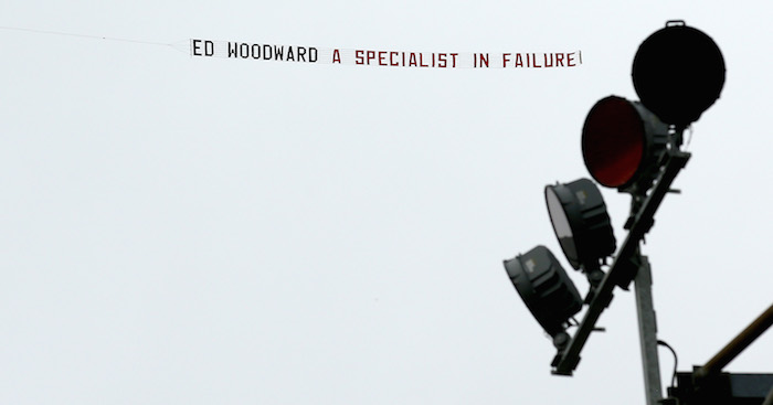 BURNLEY, ENGLAND - SEPTEMBER 02: A banner reading 'Ed Woodward a specialist in failure!' is flown over the stadium prior to the Premier League match between Burnley FC and Manchester United at Turf Moor on September 2, 2018 in Burnley, United Kingdom. (Photo by Jan Kruger/Getty Images)