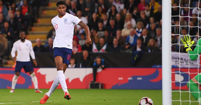 LEICESTER, ENGLAND - SEPTEMBER 11:  Marcus Rashford of England scores his team's first goal  during the international friendly match between England and Switzerland at The King Power Stadium on September 11, 2018 in Leicester, United Kingdom.  (Photo by Laurence Griffiths/Getty Images)
