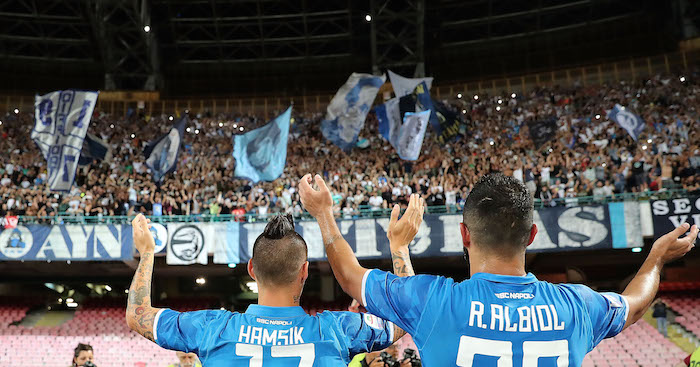 NAPLES, ITALY - AUGUST 25: Marek Hamsik and Raul Albiol players of SSC Napoli celebrate the victory after the serie A match between SSC Napoli and AC Milan at Stadio San Paolo on August 25, 2018 in Naples, Italy. (Photo by Francesco Pecoraro/Getty Images)