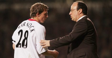 LONDON - APRIL 26: Rafael Benitez manager of Liverpool talks to defender Stephen Warnock during the Barclays Premiership match between West Ham United and Liverpool at Upton Park on April 26, 2006 in London, England. (Photo by Christopher Lee/Getty Images)