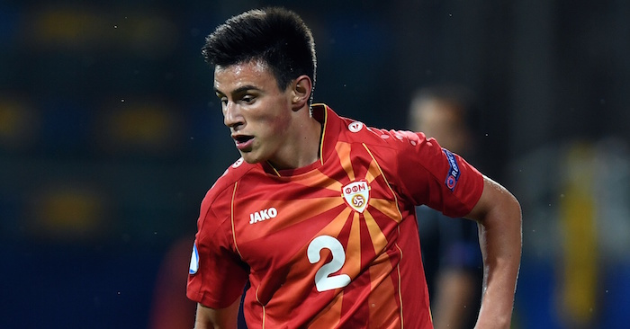Macedonia's midfielder Eljif Elmas plays the ball during the UEFA U-21 European Championship Group B football match FYR Macedonia vs Portugal in Gdynia, Poland on June 23, 2017. / AFP PHOTO / Maciej GILLERT (Photo credit should read MACIEJ GILLERT/AFP/Getty Images)