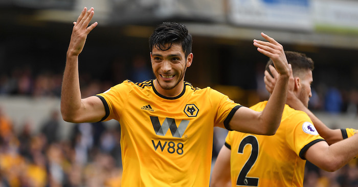 WOLVERHAMPTON, ENGLAND - SEPTEMBER 16: Raul Jimenez of Wolverhampton Wanderers celebrates after scoring his team's first goal during the Premier League match between Wolverhampton Wanderers and Burnley FC at Molineux on September 16, 2018 in Wolverhampton, United Kingdom. (Photo by Michael Regan/Getty Images)