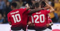 BERN, SWITZERLAND - SEPTEMBER 19: Paul Pogba of Manchester United celebrates the second goal for Manchester with his teammates Marcus Rashford of Manchester United and Diogo Dalot of Manchester United during the Group H match of the UEFA Champions League between BSC Young Boys and Manchester United at Stade de Suisse, Wankdorf on September 19, 2018 in Bern, Switzerland. (Photo by Christian Kaspar-Bartke/Getty Images)