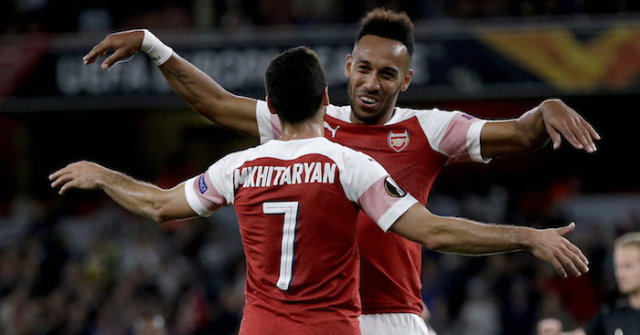 LONDON, ENGLAND - SEPTEMBER 20: Pierre-Emerick Aubameyang of Arsenal celebrates after scoring his team's third goal with Henrikh Mkhitaryan of Arsenal during the UEFA Europa League Group E match between Arsenal and Vorskla Poltava at Emirates Stadium on September 20, 2018 in London, United Kingdom. (Photo by Henry Browne/Getty Images)
