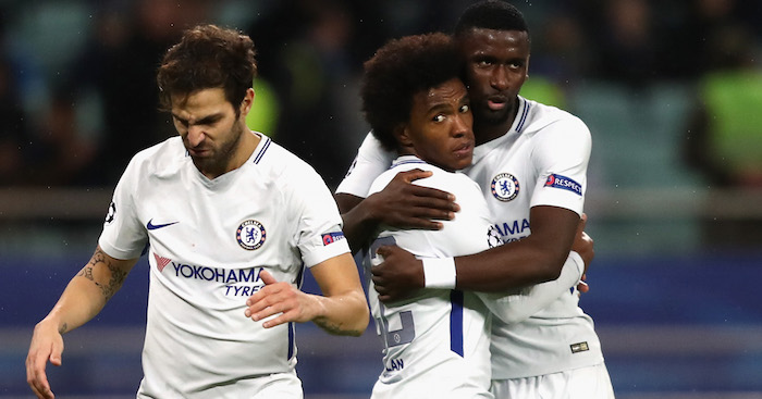 BAKU, AZERBAIJAN - NOVEMBER 22: Willian of Chelsea celebrates after scoring with Antonio Rudiger of Chelsea and Cesc Fabregas of Chelsea during the UEFA Champions League group C match between Qarabag FK and Chelsea FC at Baki Olimpiya Stadionu on November 22, 2017 in Baku, Azerbaijan. (Photo by Francois Nel/Getty Images)