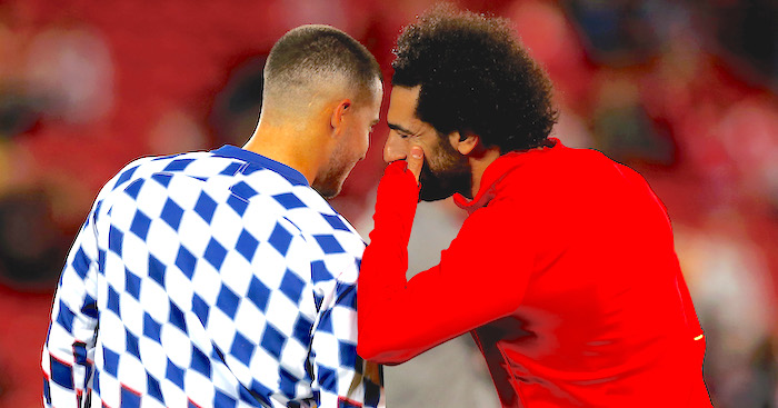LIVERPOOL, ENGLAND - SEPTEMBER 26: Eden Hazard of Chelsea speaks to Mohamed Salah of Liverpool ahead of the Carabao Cup Third Round match between Liverpool and Chelsea at Anfield on September 26, 2018 in Liverpool, England. (Photo by Jan Kruger/Getty Images)
