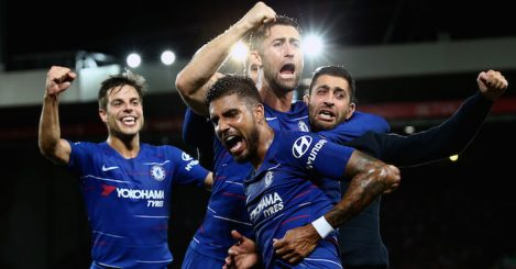 LIVERPOOL, ENGLAND - SEPTEMBER 26: Emerson of Chelsea celebrates with his teammates and a fan after he scores his sides first goal during the Carabao Cup Third Round match between Liverpool and Chelsea at Anfield on September 26, 2018 in Liverpool, England. (Photo by Jan Kruger/Getty Images)