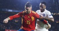 SEVILLE, SPAIN - OCTOBER 15: Raheem Sterling of England duels for the ball with Sergio Ramos of Spain during the UEFA Nations League A Group Four match between Spain and England at Estadio Benito Villamarin on October 15, 2018 in Seville, Spain. (Photo by Aitor Alcalde/Getty Images)