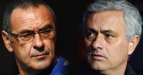 FILE PHOTO (EDITORS NOTE: COMPOSITE OF IMAGES - Image numbers 1047091738,922326746 - GRADIENT ADDED) In this composite image a comparison has been made between Maurizio Sarri, Manager of Chelsea (L) and Jose Mourinho, Manager of Manchester United. Chelsea FC and Manchester United meet in a Premier league fixture on October 20, 2018 at Stamford Bridge,London.***LEFT IMAGE*** SOUTHAMPTON, ENGLAND - OCTOBER 07: Maurizio Sarri, Manager of Chelsea looks on prior to the Premier League match between Southampton FC and Chelsea FC at St Mary's Stadium on October 7, 2018 in Southampton, United Kingdom. (Photo by Jordan Mansfield/Getty Images) ***RIGHT IMAGE*** SEVILLE, SPAIN - FEBRUARY 21: Jose Mourinho, Manager of Manchester United looks on during the UEFA Champions League Round of 16 First Leg match between Sevilla FC and Manchester United at Estadio Ramon Sanchez Pizjuan on February 21, 2018 in Seville, Spain. (Photo by Aitor Alcalde/Getty Images)