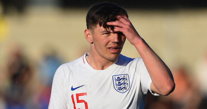 xxxx of England is tackled by xxxx of Norway during the UEFA European Under-17 Championship Between Norway and England at Pirelli Stadium on May 13, 2018 in Burton-upon-Trent, England.