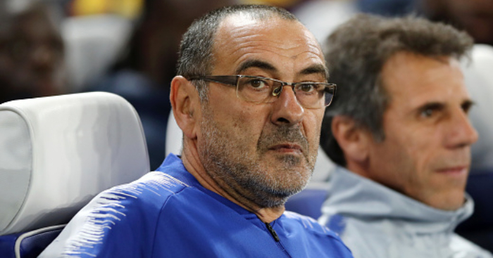 LONDON, ENGLAND - OCTOBER 25: Maurizio Sarri, Manager of Chelsea reacts during the UEFA Europa League Group L match between Chelsea and FC BATE Borisov at Stamford Bridge on October 25, 2018 in London, United Kingdom. (Photo by Bryn Lennon/Getty Images