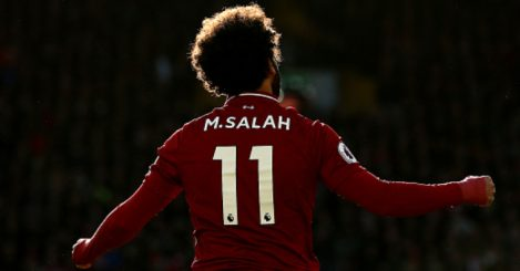 LIVERPOOL, ENGLAND - OCTOBER 27: Mohamed Salah of Liverpool celebrates after scoring his team's first goal during the Premier League match between Liverpool FC and Cardiff City at Anfield on October 27, 2018 in Liverpool, United Kingdom. (Photo by Jan Kruger/Getty Images