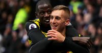 WATFORD, ENGLAND - OCTOBER 27: Gerard Deulofeu of Watford celebrates after scoring his team's second goal with Abdoulaye Doucoure of Watford during the Premier League match between Watford FC and Huddersfield Town at Vicarage Road on October 27, 2018 in Watford, United Kingdom. (Photo by Richard Heathcote/Getty Images