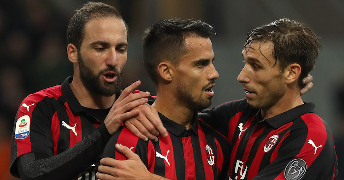 during the Serie A match between AC Milan and UC Sampdoria at Stadio Giuseppe Meazza on October 28, 2018 in Milan, Italy.