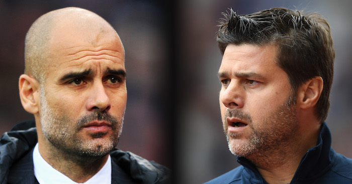 FILE PHOTO (EDITORS NOTE: GRADIENT ADDED - COMPOSITE OF TWO IMAGES - Image numbers (L) 624347276 and 629845764) In this composite image a comparision has been made between Josep Guardiola, Manager of Manchester City (L) and Mauricio Pochettino, Manager of Tottenham Hotspur. Manchester City meet Tottenham Hotspur on January 21, 2017 in a Premier League match at the Etihad Stadium. ***LEFT IMAGE*** LONDON, ENGLAND - NOVEMBER 19: Josep Guardiola, Manager of Manchester City looks on during the Premier League match between Crystal Palace and Manchester City at Selhurst Park on November 19, 2016 in London, England. (Photo by Stephen Pond/Getty Images) ***RIGHT IMAGE*** STOKE ON TRENT, ENGLAND - SEPTEMBER 10: Mauricio Pochettino, Manager of Tottenham Hotspur looks on during the Premier League match between Stoke City and Tottenham Hotspur at Britannia Stadium on September 10, 2016 in Stoke on Trent, England. (Photo by Laurence Griffiths/Getty Images)