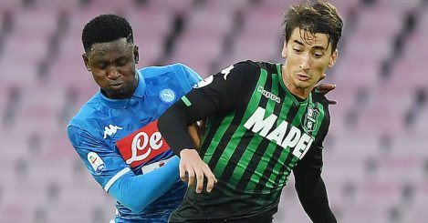 during the Serie A match between SSC Napoli and US Sassuolo at Stadio San Paolo on October 7, 2018 in Naples, Italy.