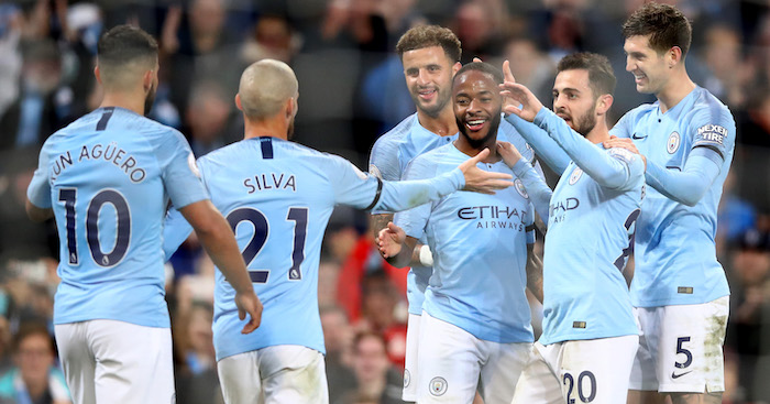 during the Premier League match between Manchester City and Southampton FC at Etihad Stadium on November 4, 2018 in Manchester, United Kingdom.