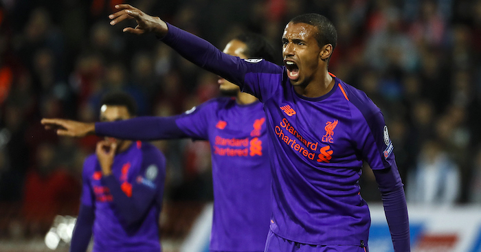 BELGRADE, SERBIA - NOVEMBER 06: Joel Matip (R) of Liverpool reacts during the Group C match of the UEFA Champions League between Red Star Belgrade and Liverpool at Rajko Mitic Stadium on November 06, 2018 in Belgrade, Serbia. (Photo by Srdjan Stevanovic/Getty Images)