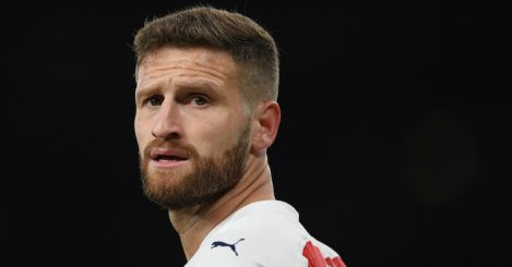 LONDON, ENGLAND - OCTOBER 22: Shkodran Mustafi of Arsenal during the Premier League match between Arsenal FC and Leicester City at Emirates Stadium on October 22, 2018 in London, United Kingdom. (Photo by Shaun Botterill/Getty Images)